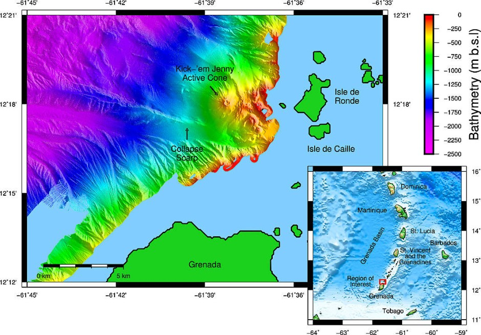"""Der Meeresboden in der Karibik. Eingezeichnet ist die geographische Lage des submarinen Vulkans """"Kick 'em Jenny"""" nördlich von Grenada."""