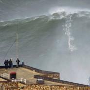 Eine Riesenwelle türmt sich auf an der Atlantikküste in der Bucht des portugiesischen Urlaubsortes Nazaré.