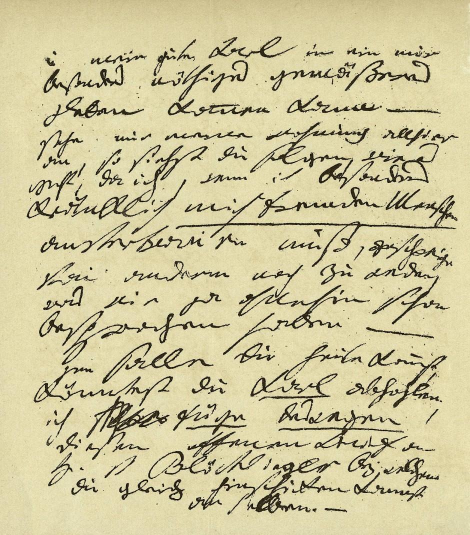 """Beethovens Brief an seinen Bruder Johann:  """"(Friede Friede) sey mit unß, Gott gebe nicht daß das natürlichste Band zwischen Brüdern wieder unnatürlich zerrissen werde, ohnehin dürfte mein Leben nicht mehr von langer Dauer sein (...), u. ohnehin bin ich durch meine jetzt schon 3 1/2 monathliche Kränklichkeit sehr, ja äußerst empfindlich und reizbar, (...)"""";  um 1822"""