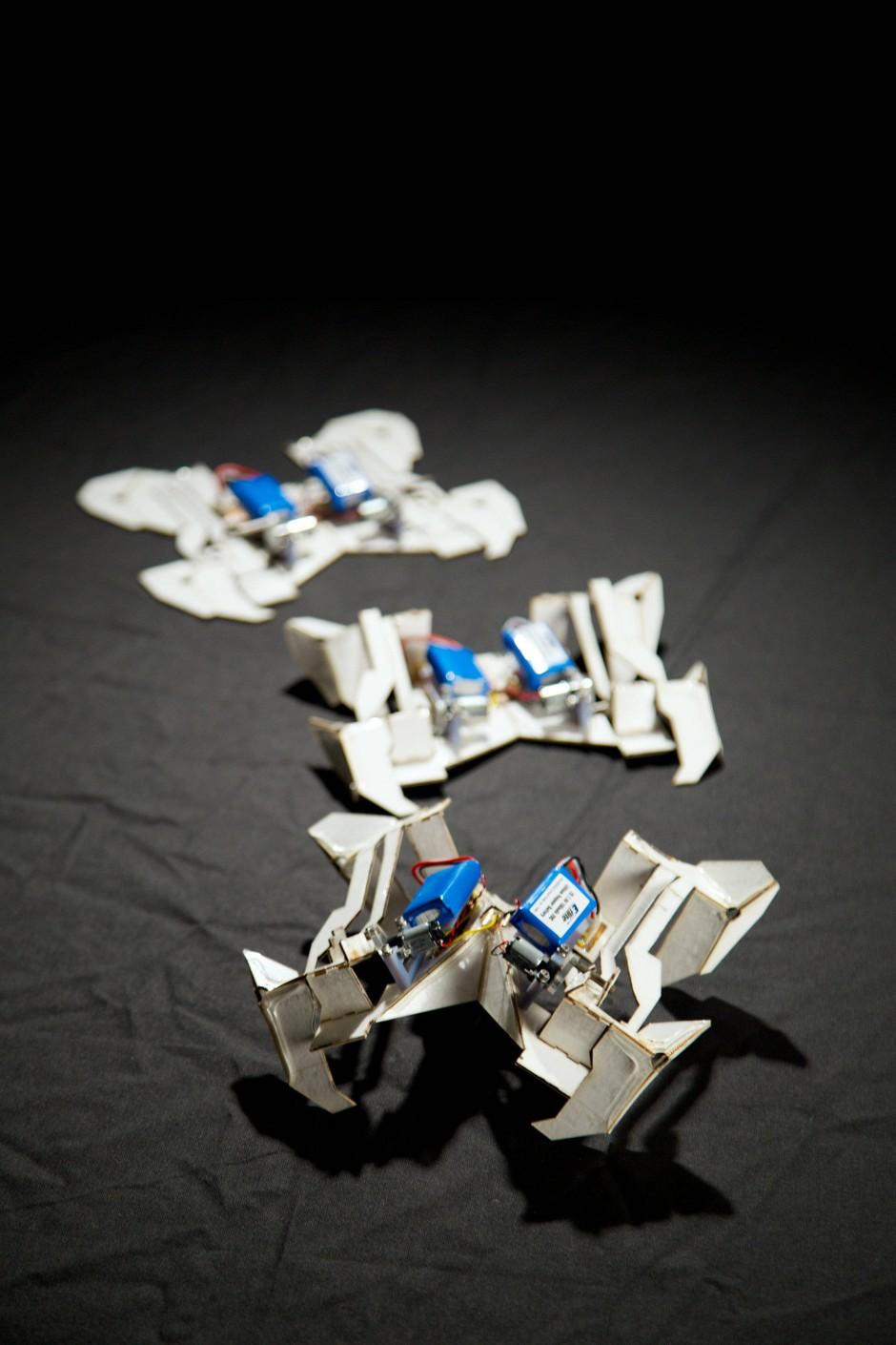 origamiroboter papierkrabbler erbaut sich selbst