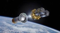 Satelliten 5 und 6 für EU-Navigationssystem Galileo in einer künstlerischen Darstellung.