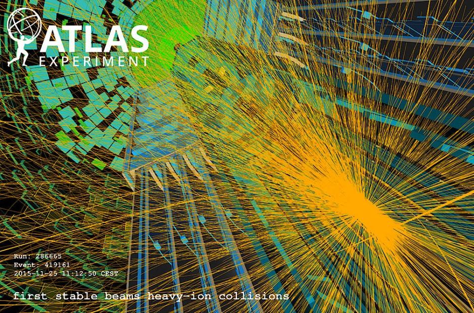 Teilchenflut nach Proton-Proton-Kollisionen im Zentrum des Atlas-Detektors