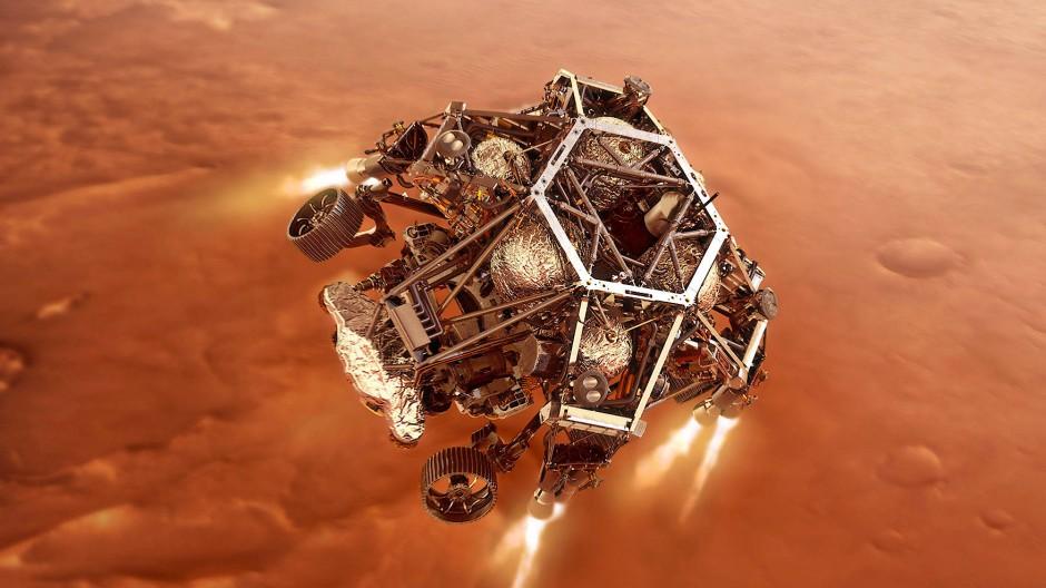 Sicher verpackt: In dieser Illustration nähert sich der Nasa-Rover Perseverance bereits der Marsoberfläche.