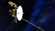 Illustration der Raumsonde Voyager 1,das weitest entfernte von Menschenhand gefertigte Objekt.