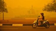 Dunst und Smog in Palagkaraya in Zentral-Kalimantan.