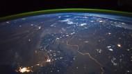 Die Grenze zwischen Indien und Pakistan, von der Internationalen Raumstation aus fotografiert.