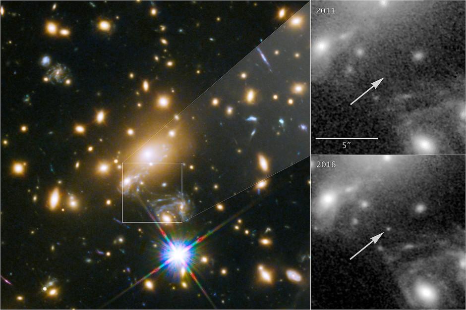 In dem Ausschnitt (rechts) ist der fernste Stern als schwacher Lichtpunkt zu erkennen.