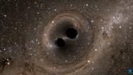 Die Quelle des Gravitationssignals bei Ligo: Zwei sich umkreisende Schwarze Löcher (hier in einer Simulation)