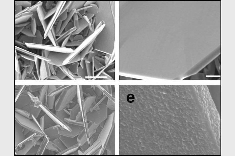 Vanadium-Disulfid-Flocken mit und ohne Titandisulfid-Beschichtung (unten).