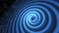 Illustration des Spiraltanzes von zwei Schwarzen Löchern und der dabei erzeugten Gravitationswellen