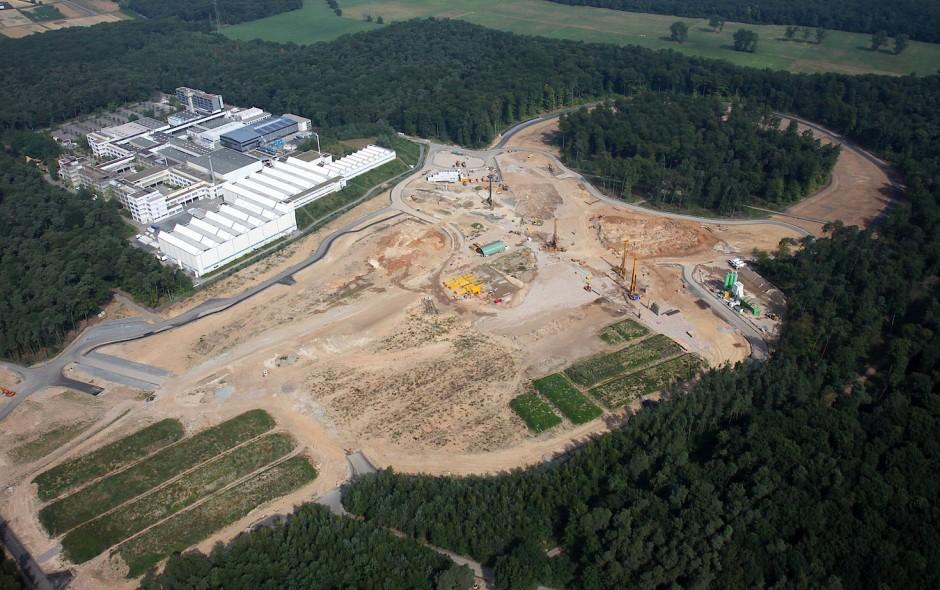 Baufeld der in Darmstadt geplanten Teilchenbeschleunigeranlage FAIR, Stand 2013