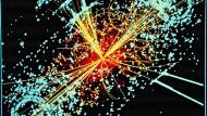 Ein typisches Higgs-Ereignis bei der frontalen Kollision von Protonen.