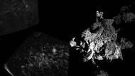 """""""Felsig"""" und spröde rundherum: Das erste Panoramafoto, das Philae mit der """"Civa""""-Kamera via Orbiter und zu den Bodenstationen gesendet hat."""