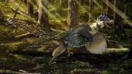 Vor 125 Millionen Jahren streifte dieser gefiederte Dino durch die Urwälder Chinas.