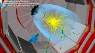 Zwei-Photonen-Ereignis, registriert vom CMS-Detektor bei  13 TeV Kollisionsenergie. Die Photonen sind durch grüne Linien dargestellt.