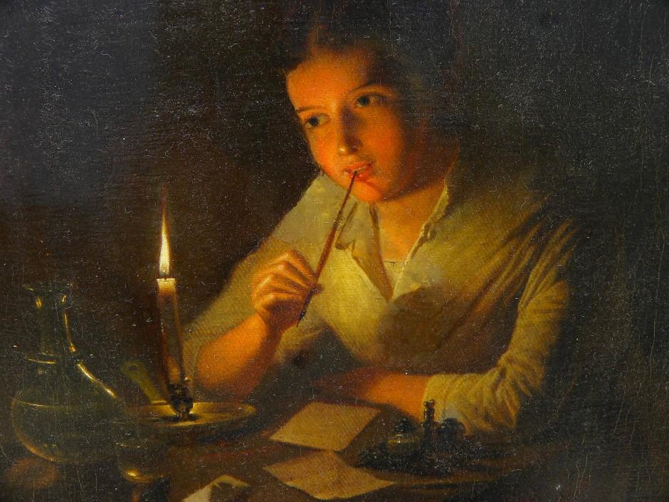 """Da kommen einem doch die besten Ideen: Johannes Rosierse (1818-1901), """"Bildnis eines jungen Mädchens bei Kerzenlicht""""."""