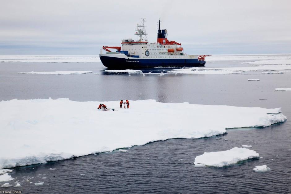 Probensammeln auf dem Schelfeis: Ricarda Winkelmann zusammen mit Polarforschern.