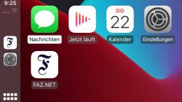 So können Sie die FAZ.NET-App über Apple CarPlay nutzen