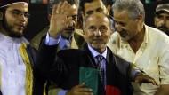Dschalil bei seiner ersten öffentlichen Rede in Tripolis am Montagabend
