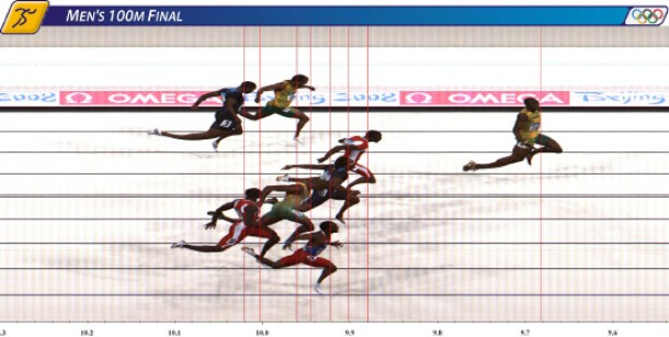 Bolt of Jamaica leads the field in this official finish line image to win the men''s 100m final
