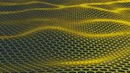 Die Zeichnung zeigt ein Modell der dünnsten Membrane der Welt, die aus Kohlenstoff hergestellt ist. Die Physiker flochten eine Art Maschendraht aus einer einzelnen Atomlage Kohlenstoff, so genanntem Graphen.