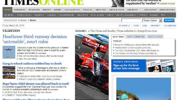 Online-Leser der Times werden zur Kasse gebeten