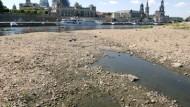 Kein Wasser in der Elbe