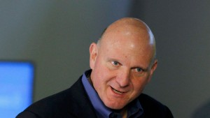 Microsoft CEO Steve Ballmer holds a tablet before the launch of Windows 8 operating system in New York