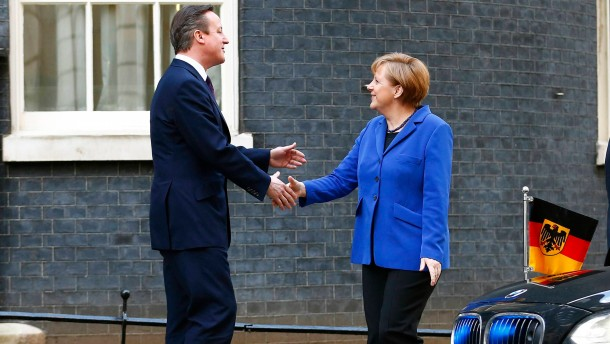 Britain's Prime Minister David Cameron greets Germany's Chancellor Angela Merkel at Number 10 Downing Street in London