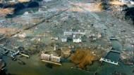 Die zerstörte Stadt Minami Sanriku in der Präfektur Miyagi