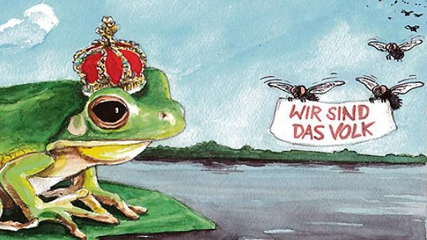 Karikatur staat und recht wie der könig ersetzt wird