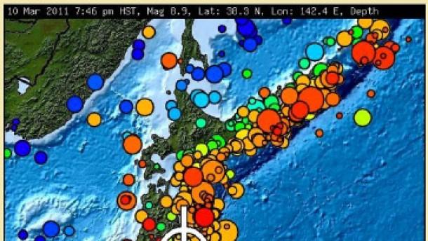 Schweres Erdbeben erschüttert Japan - NOAA-Karte
