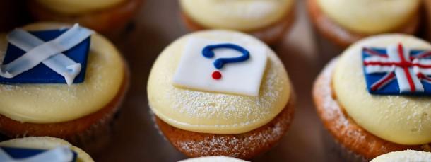 """Ein Bäcker in Edinburgh hat """"Referendum Cupcakes"""" im Angebot, aufgenommen am Dienstag"""