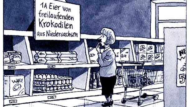 Karikatur / Greser &und Lenz / Dioxin Eier freilaufende Krokodilen aus Niedersachsen