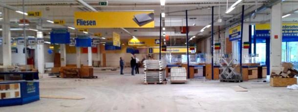 In diesem ehemaligen Praktiker-Baumarkt sollen demnächst Flüchtlinge einziehen