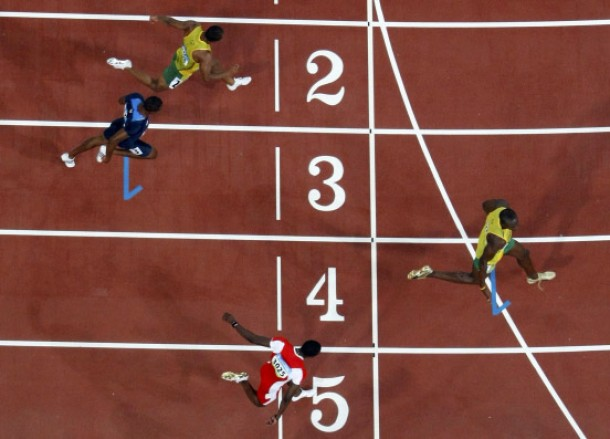 Usain Bolt of Jamaica wins the men''s 100m final at the Beijing 2008 Olympic Games