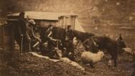 Vor gut 160 Jahren streiten Russland und das Osmanische Reich, unterstützt von Frankreich und England, um die Krim. Der Krimkrieg von 1853 bis 1856 ändert vieles: Sowohl die Feldchirurgie, als auch die Kriegsberichterstattung werden revolutioniert. Hier lagern Soldaten neben einem Verschlag mit Vieh.