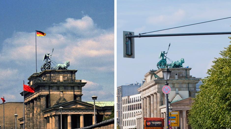 Das Brandenburger Tor in Berlin: Das linke Bild wurde im August 1974 aufgenommen, das rechte im August 2011