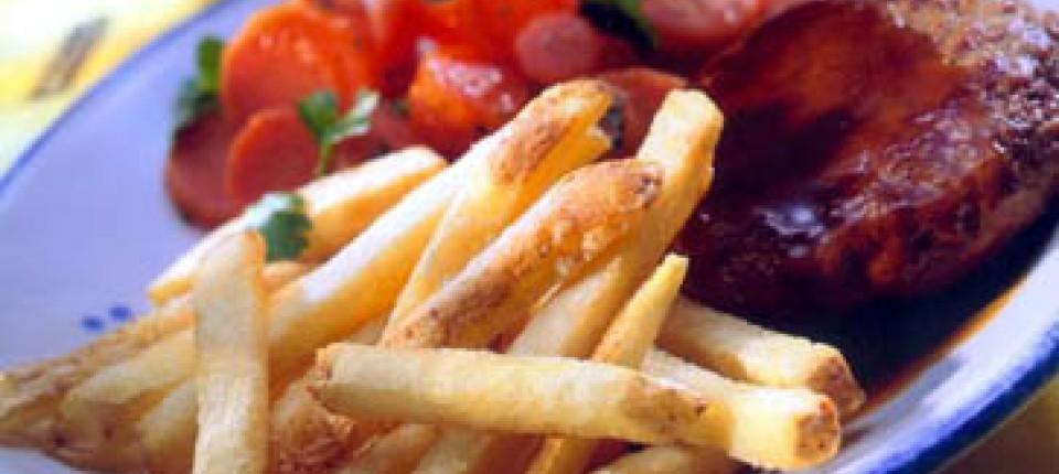 Ernährung Junkfood Pur Kartoffelchips Und Pommes Als