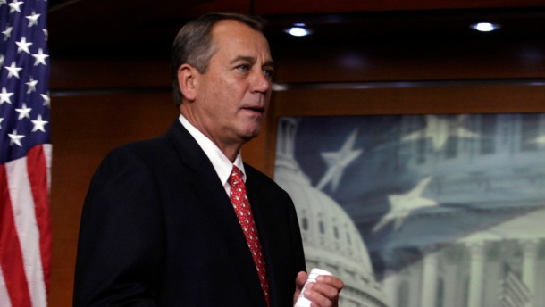 "U.S. House Speaker John Boehner arrives to speak to the media on the ""fiscal cliff"" in Washington"
