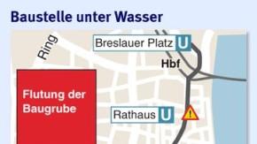 Infografik / Köln U-Bahn Flutung der Baugrube /  Baustelle unter Wasser