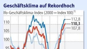 Deutsche Wirtschaft weiter in Rekordstimmung