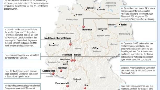 Infografik /Anschlag 11 September Deutschland / Der größte Polizeieinsatz des Bundeskriminalamtes